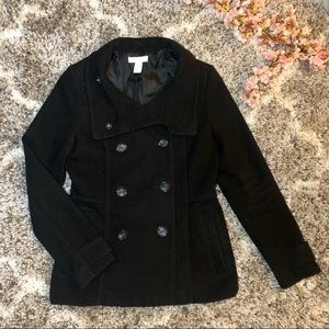 HM Black Double Breasted Peacoat